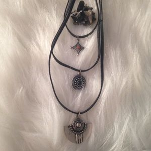 Layered black faux suede viking witchy necklace